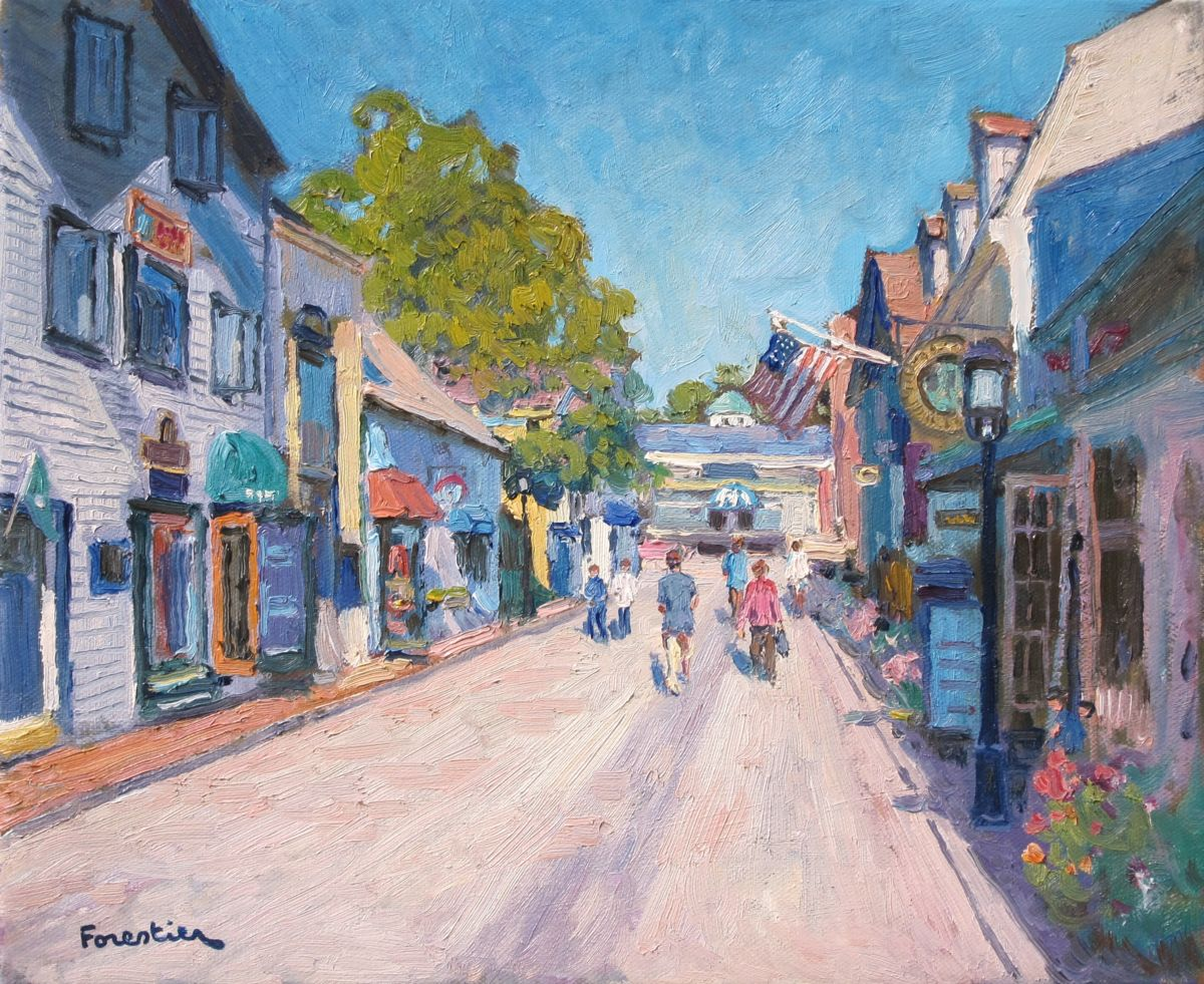 Street in Newport - Painting,  15x18 in ©2018 by Marc Forestier -                                                            Impressionism, Canvas, Landscape, Newport, New Hampshire