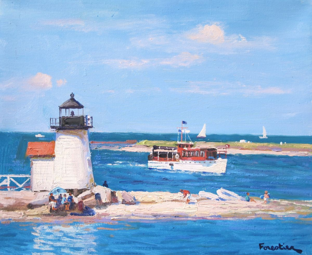 Return of the Boat, Nantucket - Painting,  15x18 in ©2018 by Marc Forestier -                                                            Impressionism, Canvas, Seascape, Nantucket, Brant Point Light