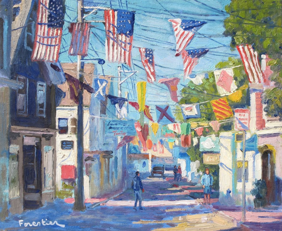Street in Provincetown - Painting,  15x18 in ©2018 by Marc Forestier -                                                            Impressionism, Canvas, Landscape, Provincetown, Cape Cod