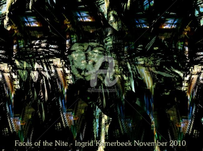 Faces of the Nite - Mixed Media,  60x80 cm ©2010 by Artingrid -            mixed_media by Ingrid Kamerbeek, WEBISM