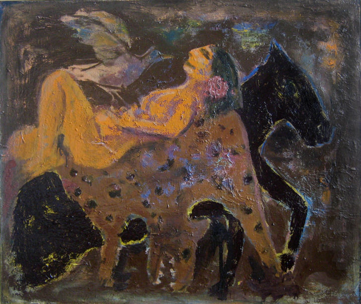"""Painting titled """"huntress"""" by Виктор Гуцу, Original Art, Oil Mounted on Stretcher frame"""