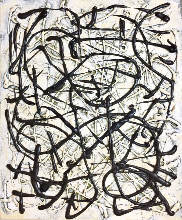 Untitled - Painting,  23.6x19.7x1 in, ©2020 by ika -                                                                                                                                                                                                                                                                                                                                                                                                                                                                                                                                                                                                                                                                                  Abstract, abstract-570, Abstract Art, Black and White, ika, artist ika, theartist.ika, ika broukman, pollock, jackson pollock, modern, contemporary, acrylic on canvas, black and white