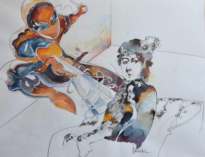"""Painting titled """"Abduction of a stra…"""" by Roman Bonchuk, Original Art, Ink"""