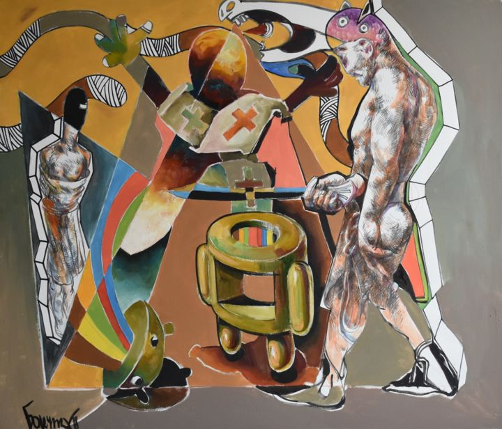 Ritual Android Sacrifice - Painting,  120x140x5 cm ©2019 by Roman Bonchuk -                                                                                                                                                                                                                                                                                                                        Abstract Art, Illustration, Conceptual Art, Modernism, Symbolism, Surrealism, Canvas, Abstract Art, Time, Heroic-Fantasy, Spirituality, Business, Culture, People, Places, World Culture, Dark-Fantasy, Science-fiction, Pop Culture / celebrity, Robots, Mortality, Technology, Colors, Fantasy, Android, executioner, ritual, decline, bright, multicolored, pied, person, abstract, victim, technology, symbol, uncertainty, victory, Scharfrichter, Ritual, Verfall, hell, mehrfarbig, Person, abstrakt, Opfer, Technologie, Symbol, Ungewissheit, Sieg, bourreau, rituel, déclin, clair, multicolore, personne, résumé, victime, technologie, symbole, incertitude, victoire