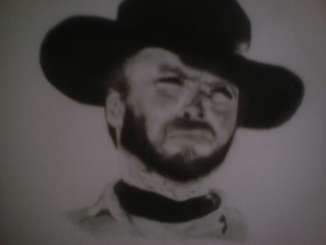 """Drawing titled """"Clint Eastwood"""" by Karl Rand, Original Art,"""