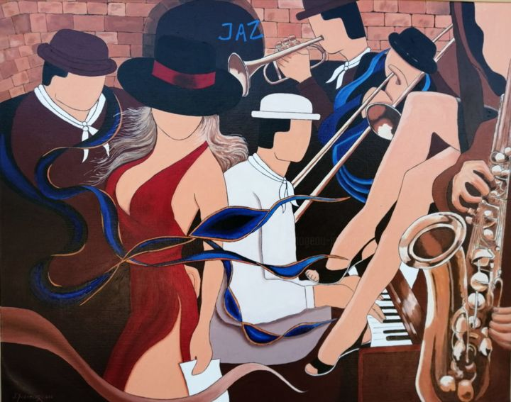 Maraîchins JAZZ - Painting,  28.7x36.2x1 in, ©2020 by Jacques Yvernogeau -                                                                                                                                                                                                                      Pop Art, pop-art-615, Music, People