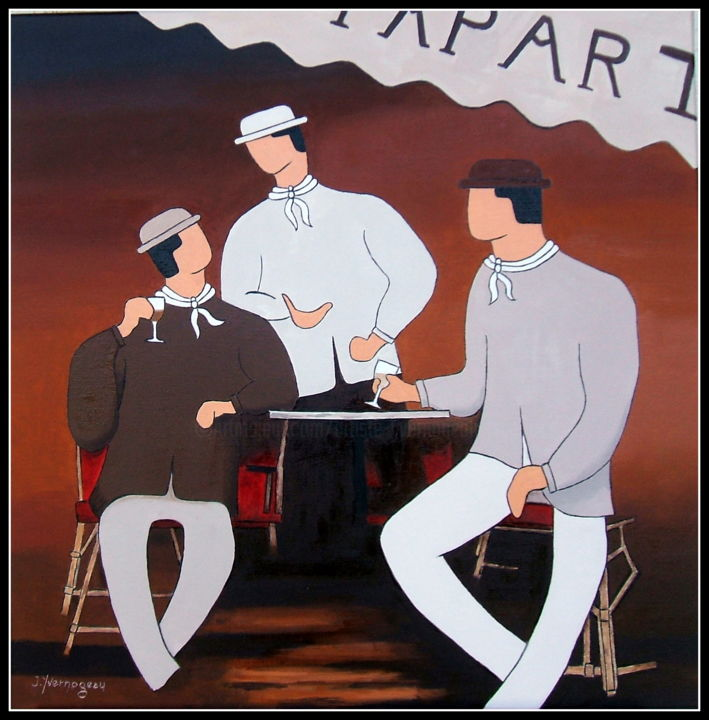L'Appart - Painting,  23.6x23.6x0.8 in, ©2019 by Jacques Yvernogeau -                                                                                                                                                                                                                                                                                                                  Figurative, figurative-594, Men, Restaurant, Plaisir, Amis