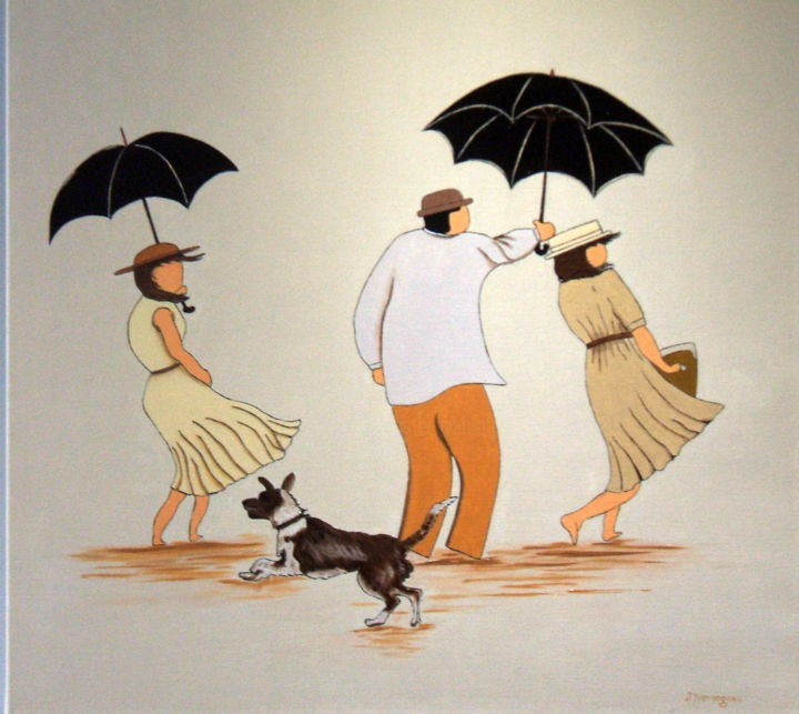 Pique-nique 2 - Painting,  31.5x31.5x0.8 in, ©2014 by Jacques Yvernogeau -                                                                                                                                                                                                                                                                                                                                                                                                                                                                                                                                                                                          Figurative, figurative-594, artwork_cat.Dogs, artwork_cat.Colors, Women, Men, People, Pique-nique, Femmes, Homme, Chien, Dunes