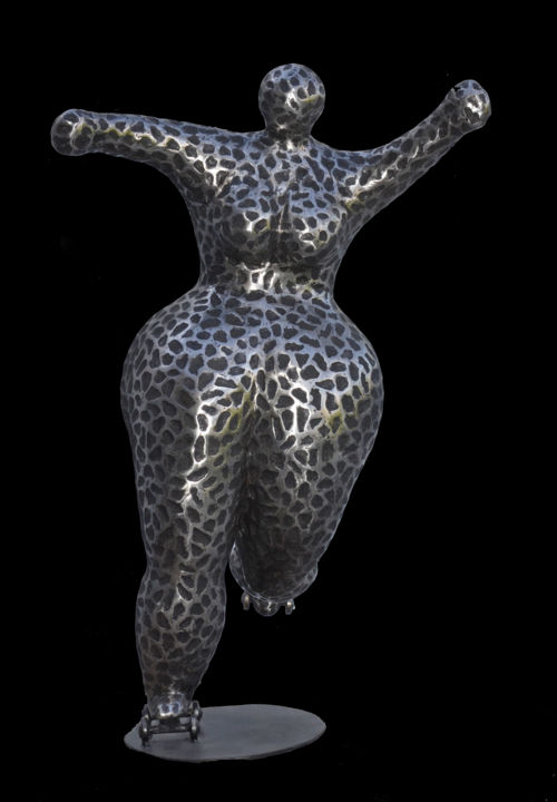 La patineuse - Sculpture,  102x64x50 cm ©2019 by Tef -                                                            Outsider Art, Metal, Body, grosse, corps