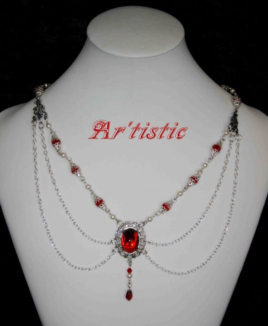 COLLIER Victorien (rouge) - 01 - Artcraft ©- by Ar'tistic -                        Metal