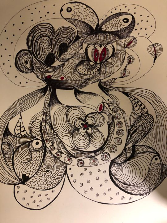 """Drawing titled """"The symbiotic"""" by Anna Kruger, Original Art,"""