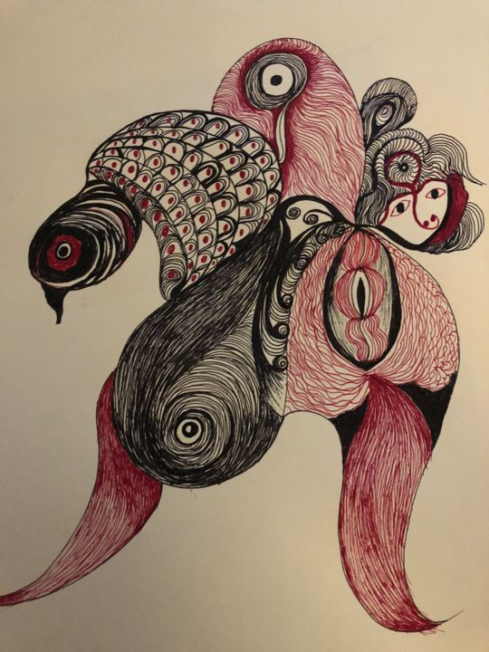 """Drawing titled """"Energy of the spirit"""" by Anna Kruger, Original Art,"""