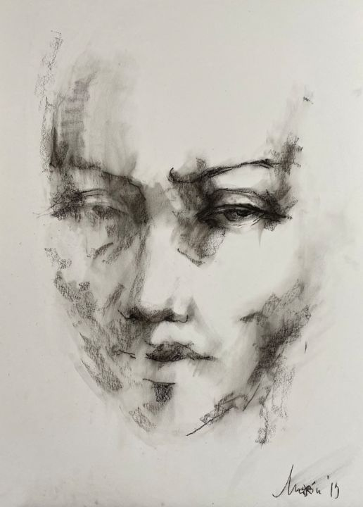 """Drawing titled """"Face 2"""" by Marin, Original Art, Pastel"""