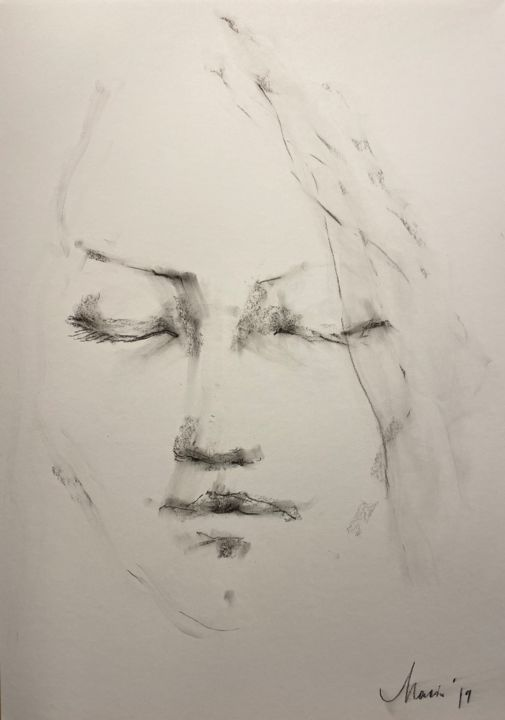 """Drawing titled """"Face 3"""" by Marin, Original Art, Pastel"""