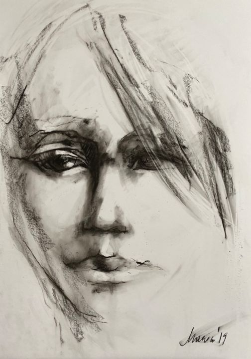 """Drawing titled """"Face 4"""" by Marin, Original Art, Pastel"""
