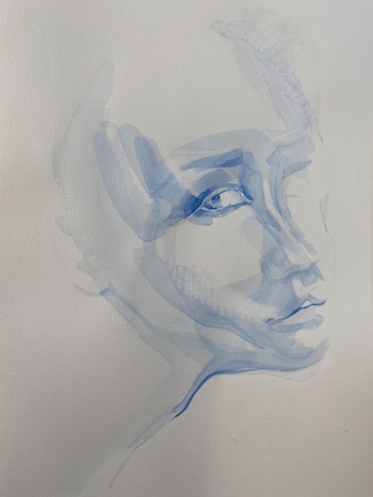 """Drawing titled """"Face 6"""" by Marin, Original Art, Watercolor"""