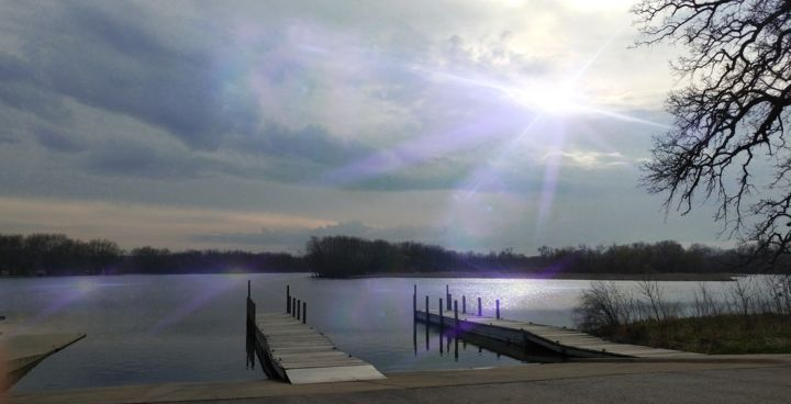 A Crystal Sky Reflected On A Dock - Photography, ©2017 by Artistry By Ajanta -                                                                                                                                                          Water, dock, sky