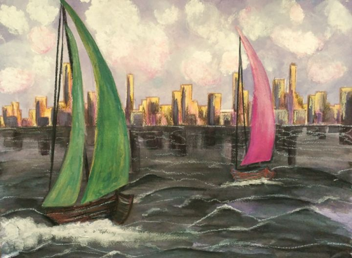 """Painting titled """"Sailing By A City"""" by Artistry By Ajanta, Original Art, Watercolor"""