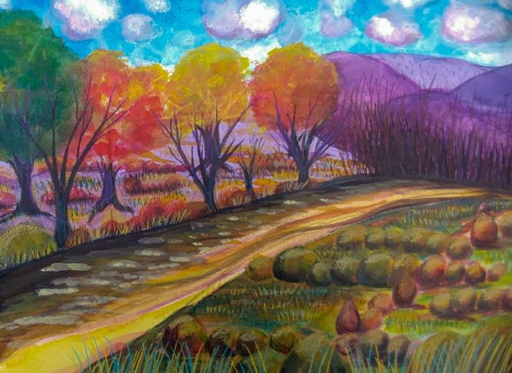 """Painting titled """"Autumn's Changes"""" by Artistry By Ajanta, Original Art, Watercolor"""
