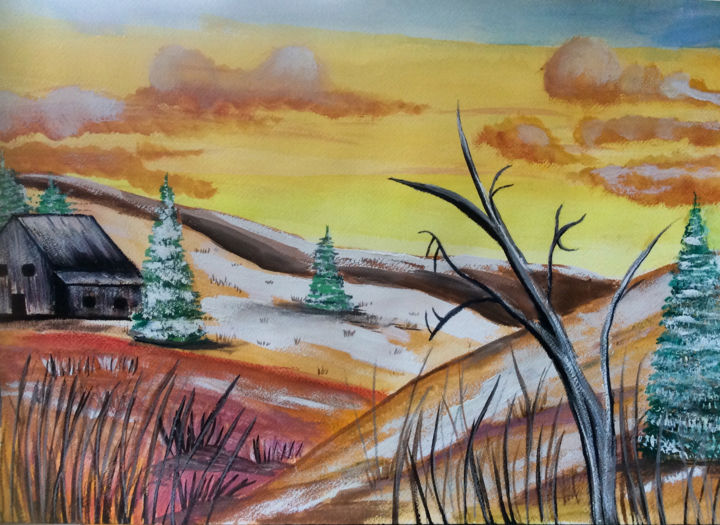 """Painting titled """"Winter"""" by Artistry By Ajanta, Original Art, Watercolor"""