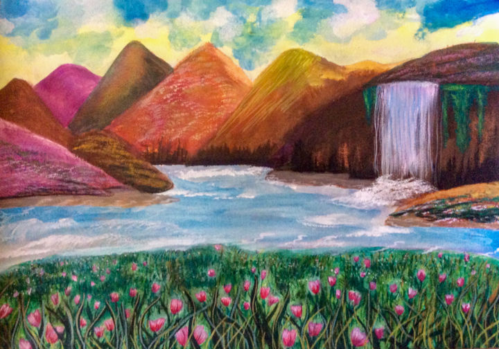 """Painting titled """"Spring's Freshness"""" by Artistry By Ajanta, Original Art, Watercolor"""
