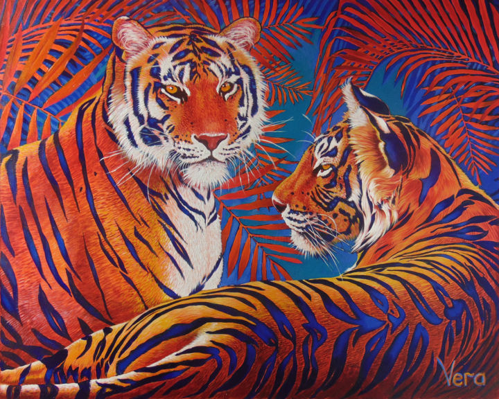 Tiger autumn - Painting,  60x75x3 cm ©2019 by Sergey and  Vera -                                                                                            Figurative Art, Contemporary painting, Environmental Art, Animals, Cats, Nature, Tiger, Animalism, Big cats, Cats