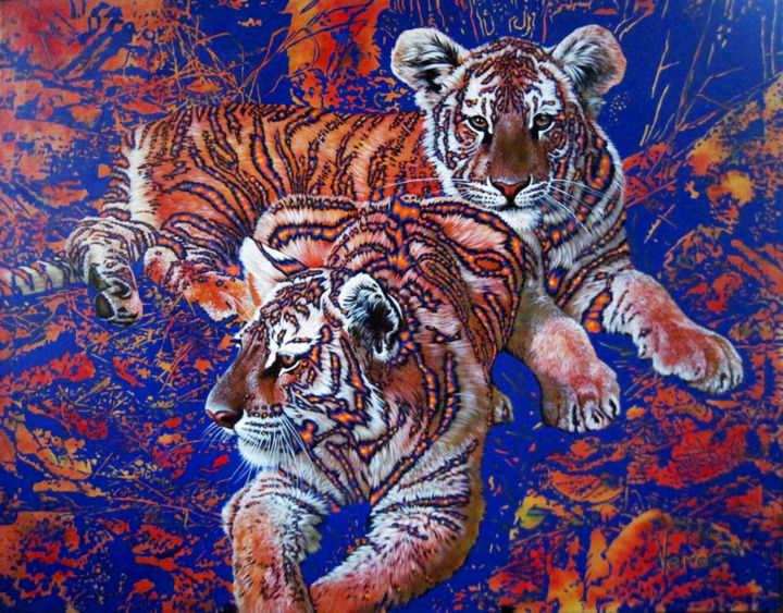 Autumn cubs. - Painting,  80x100x2.5 cm ©2017 by Sergey and  Vera -                                                                                                Figurative Art, Contemporary painting, Environmental Art, Canvas, Animals, Cats, Tiger, Animalism, Big cats, cubs