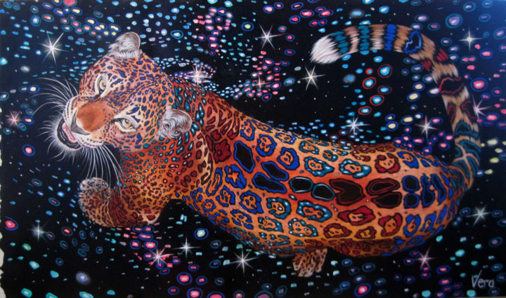 Constellation - Painting,  21.7x35.4x0.8 in, ©2016 by Sergey and  Vera -                                                                                                                                                                                                                                                                                                                                                                                                                                                      Figurative, figurative-594, Animals, Cats, Colors, Leopard, Big cats, Animalism, Constellation