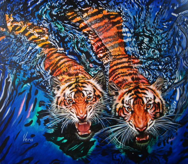 Twins - Painting,  25.6x29.5x0.8 in, ©2014 by Sergey and  Vera -                                                                                                                                                                                                                                                                                                                                                                                                                                                                                                  Figurative, figurative-594, Animals, Cats, Nature, Colors, Twins, Tigers, water, bathe