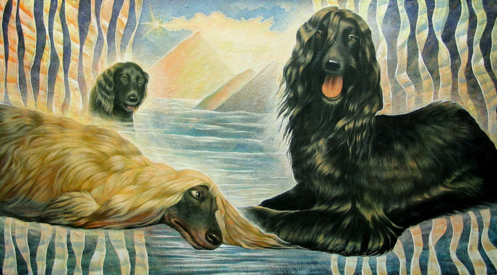 Dog paradise - Painting,  25.6x43.3x0.8 in, ©2008 by Sergey and  Vera -                                                                                                                                                                                                                                                                                                                                                                                                          Expressionism, expressionism-591, Animals, Landscape, Mortality, Dogs, Dogs, Dog paradise