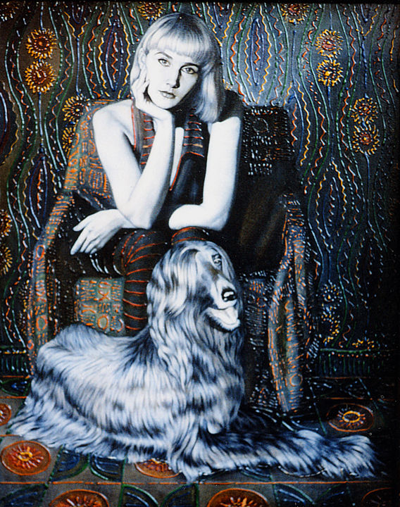 Self portrait with security - Painting,  35.4x27.6x0.8 in, ©1995 by Sergey and  Vera -                                                                                                                                                                                                                                                                                                                  Figurative, figurative-594, Portraits, Portrait, woman, Dog