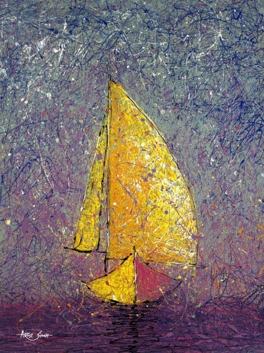 """Painting titled """"Sailing in purple w…"""" by Artist Singh, Original Art,"""