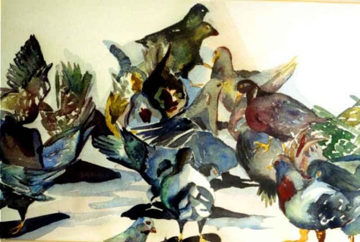 """Painting titled """"Pigeon Triangle"""" by Newman Mindy, Original Art, Other"""