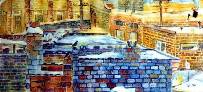 """Painting titled """"Snow on the Roof"""" by Newman Mindy, Original Art, Other"""