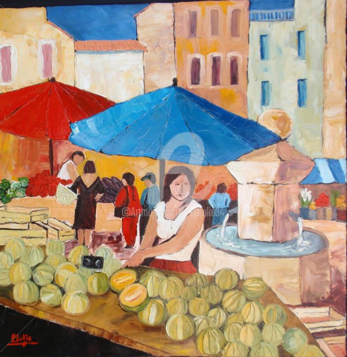 """ Saveurs de Provence "" - Painting,  23.6x23.6 in, ©2015 by Juliana Pioch -                                                                                                                                                                                                                          Fauvism, fauvism-942, Pop Culture / celebrity, Fauvisme"