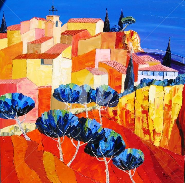 """ Ocres de Roussillon "" - Painting,  31.5x31.5 in, ©2017 by Juliana Pioch -                                                                                                                                                                                                                          Fauvism, fauvism-942, Landscape, Fauvisme"