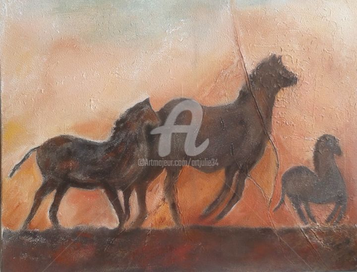 """"""" L'Anvol """" - Painting,  25.6x31.5 in, ©2017 by Juliana Pioch -                                                                                                              Horses, Fauvisme"""