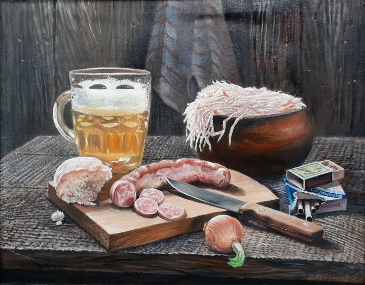 """Painting titled """"Still life with spr…"""" by Ivan Kelarev (Art Grad Gallery), Original Art, Oil Mounted on Stretcher frame"""