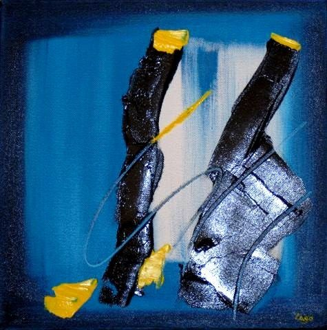 Painting,  30 x 30 cm ©2010 by Lago -  Painting, Abstract Painting, Huile sur toile, toile 3D, vernis brillant