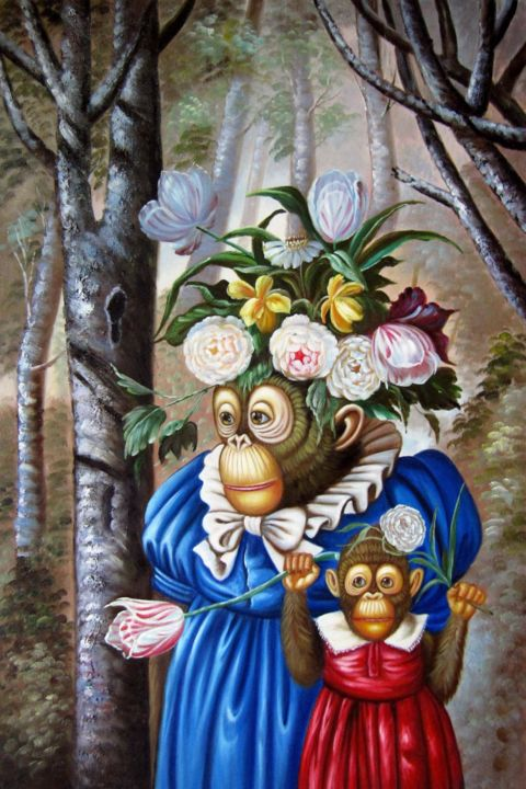 """Painting titled """"Monkey wedding #007"""" by James Shang, Original Art, Oil Mounted on Stretcher frame"""