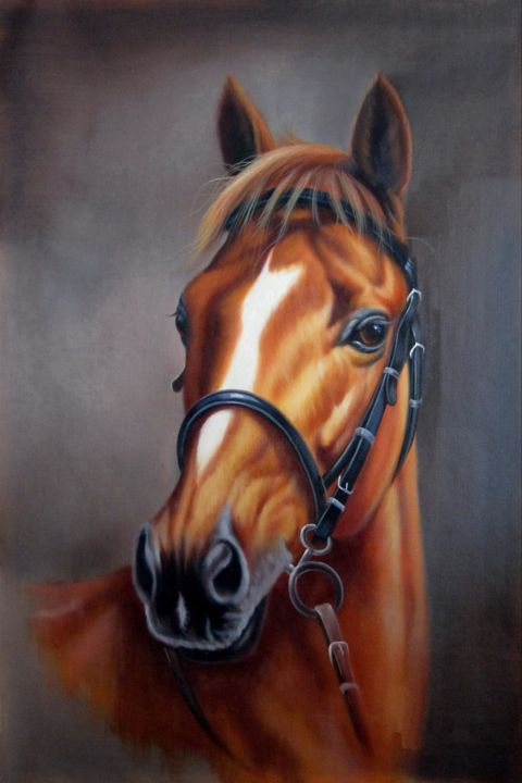 """Painting titled """"Horse #004D"""" by James Shang, Original Art, Oil Mounted on Stretcher frame"""