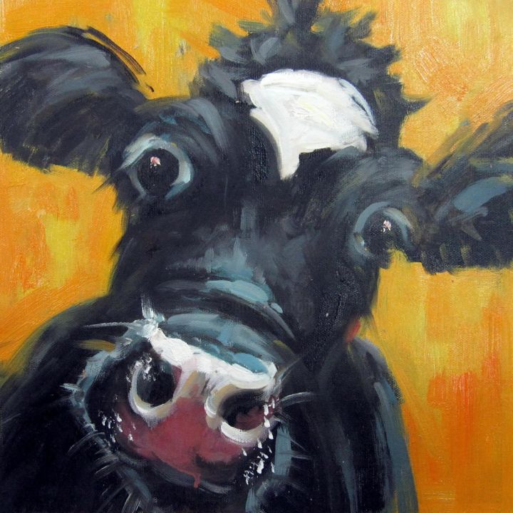 """Painting titled """"Cow #109"""" by James Shang, Original Art, Oil Mounted on Stretcher frame"""