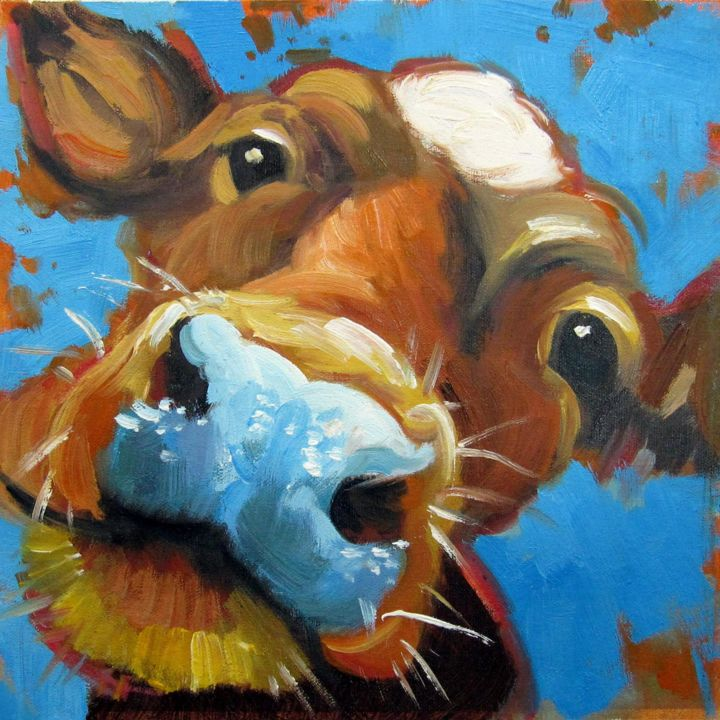 """Painting titled """"Cow #111"""" by James Shang, Original Art, Oil Mounted on Stretcher frame"""