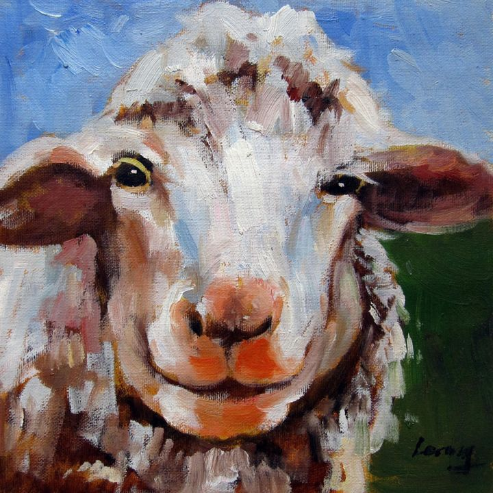 """Painting titled """"Sheep #305"""" by James Shang, Original Art, Oil Mounted on Stretcher frame"""