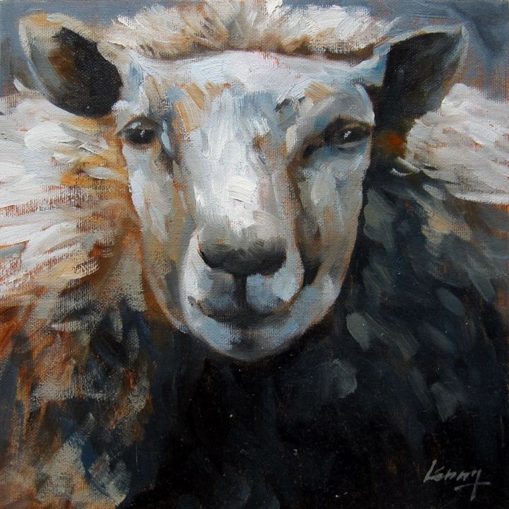 """Painting titled """"Sheep #306"""" by James Shang, Original Art, Oil Mounted on Stretcher frame"""