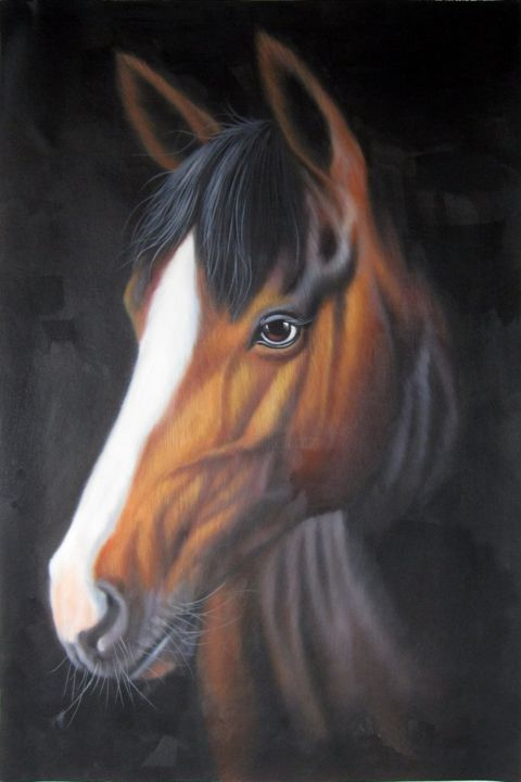 """Painting titled """"Horse #005D"""" by James Shang, Original Art, Oil Mounted on Stretcher frame"""