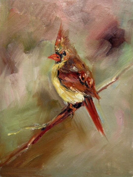"""Painting titled """"Cardinal #002"""" by James Shang, Original Art, Oil Mounted on Stretcher frame"""