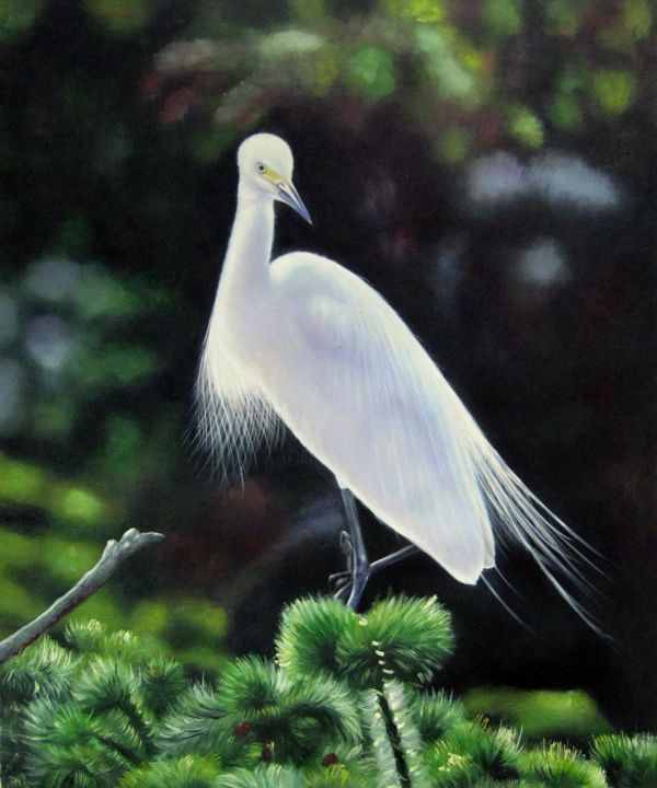 """Painting titled """"Crane #101"""" by James Shang, Original Art, Oil Mounted on Stretcher frame"""