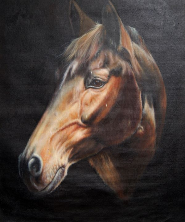 """Painting titled """"Horse #102D"""" by James Shang, Original Art, Oil Mounted on Stretcher frame"""