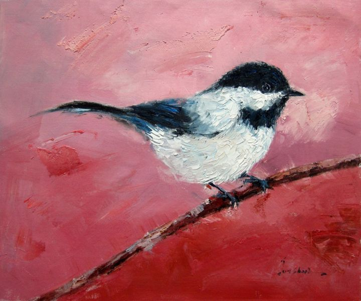 """Painting titled """"Sparrow #507"""" by James Shang, Original Art, Oil Mounted on Stretcher frame"""